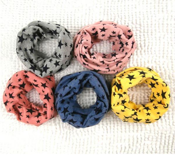 Livraison gratuite Classique enfants écharpe en coton enfants garçon fille Anneau Écharpe Châle Unisexe Hiver à tricoter Étoiles Col Chaud Réchaud