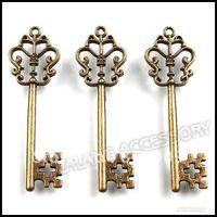 Wholesale Vintage Key Charms - Wholesale-60pcs lot Vintage Key Charms 58x18x3mm Antique Bronze Alloy Metel Pendant Fit Jewelry Making 141372