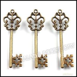 Wholesale Wholesale Bronze Vintage Keys - Wholesale-60pcs lot Vintage Key Charms 58x18x3mm Antique Bronze Alloy Metel Pendant Fit Jewelry Making 141372