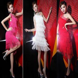 Wholesale Tango Sexy Red Dresses - Sexy Latin Rumba Salsa Tango Dance Cocktail Party Diamond Tassels Dress 6 Colors-PY