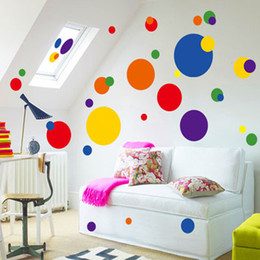 Wholesale Wall Decal Geometric - 50x70cm Geometric color dot Wall stickers Glass Wall Stickers Living room background Wall Stickers free shipping