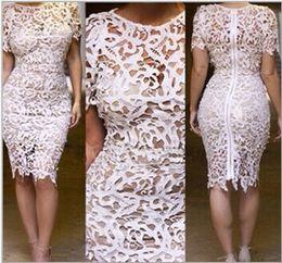 Wholesale Plus Size Yellow Midi Dress - X-Large XXL Plus Size Women Clothing Bandage Dress Celebrity New Floral Boho Crochet Lace Pencil Midi Evening Brand Dress free shipping