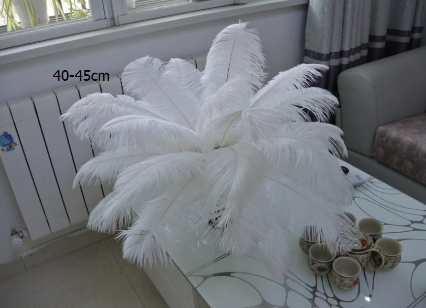 Toptan 100 adet / grup 14-16 inç Devekuşu Tüyü Tüy Plumes OSTRICH KÖTÜ BEYAZ Düğün merkezinde dekor için parti tedarik dekor