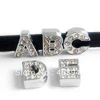 Wholesale Diy Slide Charm Letters - Wholesale-130pcs 8mm Full Rhinestone English Alphabet A-Z DIY Slide letters.slide letter. Charm fit Bracelet  wristband