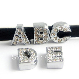 Wholesale English Alphabet Letters - Wholesale-130pcs 8mm Full Rhinestone English Alphabet A-Z DIY Slide letters.slide letter. Charm fit Bracelet  wristband