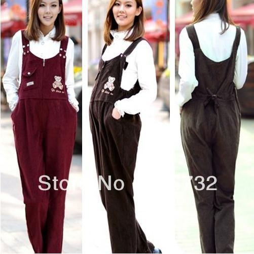 Free Shipping Plus Size Maternity Overalls Clothing Cute Bear Pattern Casual Jumpsuit 2015 Women Corduroy Loose Rompers Pregnant Pants