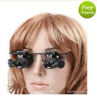 lentes de aumento de luz led al por mayor-Nuevo 20X Doble Capa Lente Gafas de Aumento Tipo Reloj Lupa de Reparación con Luz LED Nueva Llegada Envío Gratis