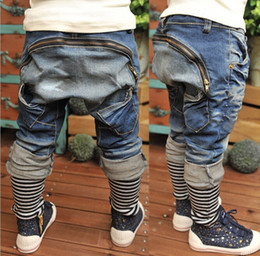 Wholesale Girl Harem Trouser - Wholesale-Children Casual Pants Fashion Jeans Kids Clothing Harem Pants Denim Trouser Blue Jeans Long Trousers Boy And Girl Stripe Jeans