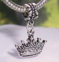 Wholesale Dangle Crown Charms - Hot ! 100pcs Antique Silver Zinc Alloy Crown Princess Queen Royalty Dangle Bead fit European Style Charm Bracelets 28 x 18 mm
