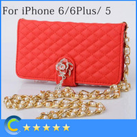 Wholesale Iphone Pearl Pink - For iPhone 6 Leather Case Luxury Protective Wallet Cover Skin with Card Slot and Pearl Chain for iPhone 6 4.7 inch