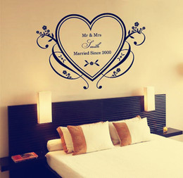 Wholesale Wedding Sticker Wall Art - Custom-made Personalised Lovers or Couple or Wedding Decorative Wall Sticker Art Decal for Bedroom Decor