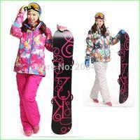 Wholesale Waterproof Wind Proof Winter Jacket - KWJ15N Wind and Water-proof Sport Suit Female Outdoor Ski Suits Women Winter Skiing Snow Suit Top Hoodie Jacket +Strap Pants