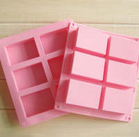 Wholesale 3d Silicone Soap Molds Mould - 6 Cavities 3D handmade Rectangle Square silicone soap Mold chocolate cookies mould cake decorating fondant molds #H0261