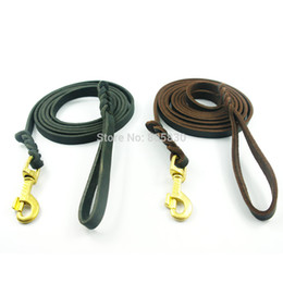 Wholesale Genuine Leather Dog Harness - Wholesale-Genuine Leather Dog Long Leash Braided Leather Pet Lead Prevent Bite