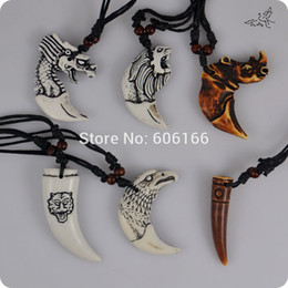 Wholesale Eagle Pendant Necklace - 24pc lot Mix Style Animal Teeth Pendant Necklace Rhino lion wolf dragon eagle tiger Tooth Resin Pendant Necklaces Free Shipping