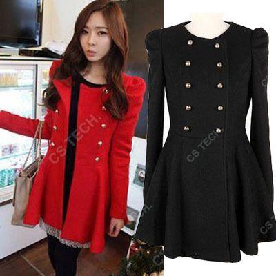 Gashion Women/'s Wool Blend Double Breasted Military Coat Long Outwear Jacket