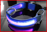 Discount led collar ems - Wholesale-NEW LED pet adjust collar,hyperlucent dog collar,optical fiber Flashing LED dog collar 50pcs lot by EMS free shipping
