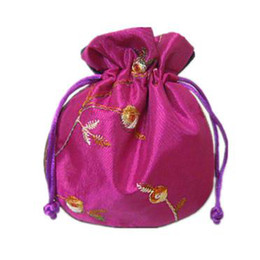 Tea Jewelry Canada - fillet Embroidery Fruit Small Cloth Pouch Satin Fabric Jewelry Gift Bag Drawstring Empty Candy Tea Packaging Spice Sachet Coin Pocket