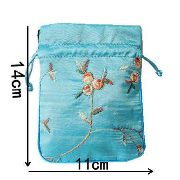Embroidery fruit Small Drawstring Gift Bags for Jewelry Pouch Satin Coin Purse Pocket Candy Tea Packaging Bag Wedding Party Favor 11x14 cm