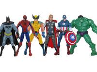 Wholesale Wolverine Movie Toys - Lot6 Marvel&DC Movie Figure toy Thor+Hulk+Captain America+Wolverine+Batman+Spiderman set free shipping