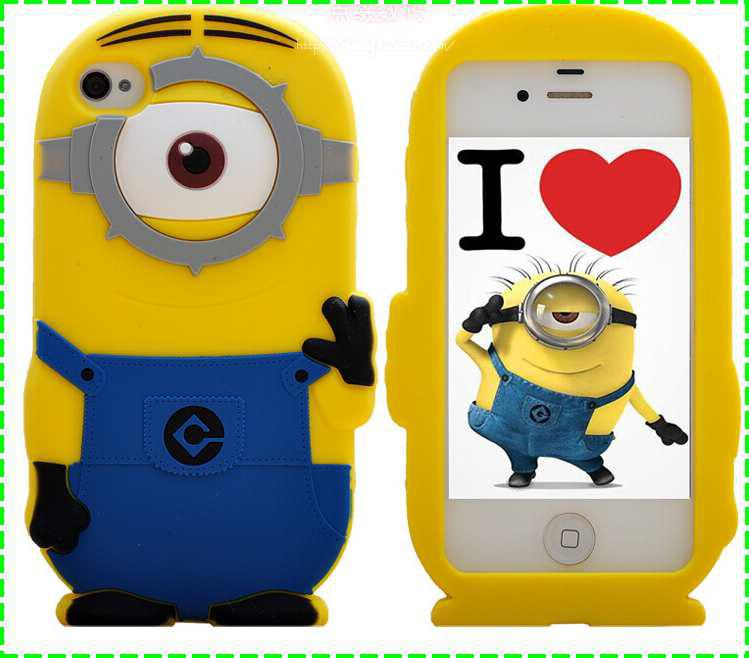 huge discount 13b09 a5896 For iphone 6 6S plus 3D Silicone Cute Minions Despicable Me2 Case Soft  Cartoon Back Cover for iphone 6 5 5S