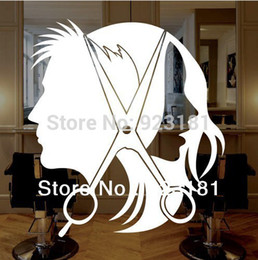 hair wall decals 2019 - Wholesale-Free Shipping UNISEX HAIR SCISSORS Salon Business Wall Art Stickers Decal DIY Home Decoration Wall Mural Remov