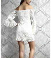 Wholesale Clubbing Bare Shoulder Dress - Ladies Ballroom Banquet Lace skirt Night Club Apparel bare shoulder horn long sleeves shaped Dress PL2809
