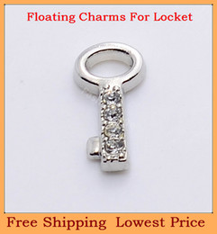 Wholesale Clear Glass Lockets Wholesale - Wholesale-Free shipping alloy silver clear crystal key floating charms for living glass memory glass lockets FC157