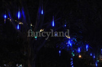 Wholesale Snow String Lights - Wholesale-2014 Blue 30CM Shinning Snow Fall Meteor Shower Rain Tubes LED String Light Holiday lights Wedding Garden Decoration B6
