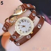 bracelete de pulseira de couro de strass venda por atacado-Varejo 1pcs mulheres da moda da menina strass pulseira pulseira de quartzo relógio de pulso 02FV frete grátis