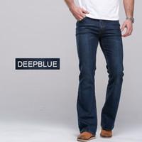 Wholesale Mens Flare Cargo Pants - Wholesale-2014 mens jeans boot cut leg slightly flared slim fit famous brand blue black male jeans designer classic denim Jeans