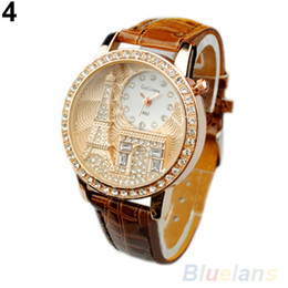 Wholesale Ladies Ceramic Band Watches - New Arrival Fashion Women Lady Tower Quartz Wrist Watch Crystal Dial Leather Band 1pcs Free Shipping