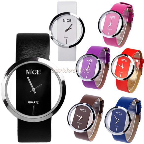 Wholesale-2014 Fashion Watch Women Synthetic Leather Transparent Dial Lady Wrist Watch Dropshipping 3362