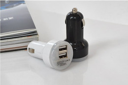 Wholesale Mini Usb Iphone 5c - USB Car Charger Dual Port Universal Mini Bullet USB Adapter cellphone car charger for ipad iPhone 4 4s 5 5s 5c 6 samsung s3 s4 s5 black