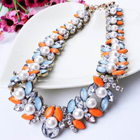 Wholesale Pearl Bubble Bib Necklace - Women Rhinestone Bubble Bib Statement Necklace Lady Imitation Pearl Jewelry Chokers Necklace For Party Giving Gifts XL5651*1