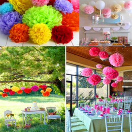 Wholesale Tissue Balls Wholesale - Decorative Flowers 20pcs lot Tissue Paper Pom Poms Paper Lantern Pom Pom Blooms Flower Balls 6 8 10 12 14inches Multi-color Options