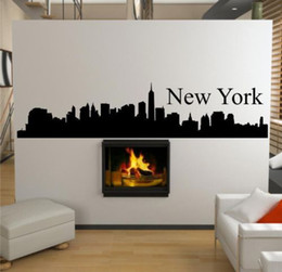 Wholesale New York Wall Decals - Wholesale-Free shipping New York City Skyline Wall Art Sticker Decal DIY Home Decoration Wall Mural Removable Bedroom sticker 100x30cm