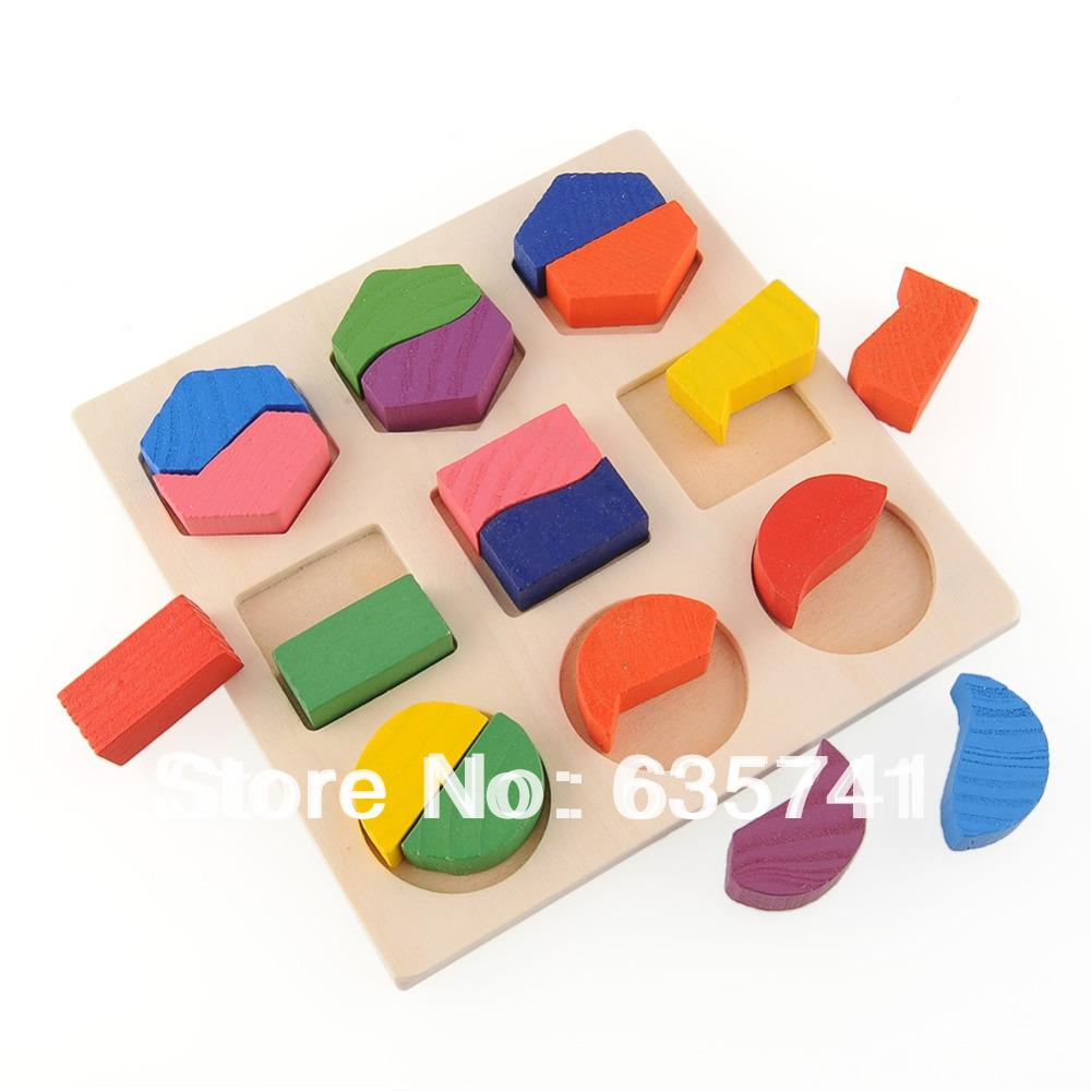 Wood Geometry Block Montessori Baby Preschool Toy Kids Baby Board Game Free Shipping