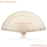 Wholesale Carved Wood Hands - Hot 10x Vintage Folding Bamboo Wooden Carved Hand Fan Wedding Bridal Party Great Gift Free Shipping