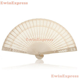 Wholesale Carved Bamboo - Hot 10x Vintage Folding Bamboo Wooden Carved Hand Fan Wedding Bridal Party Great Gift Free Shipping