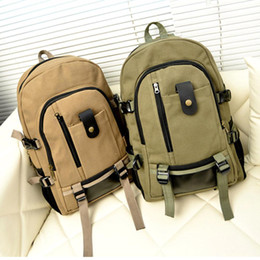 Wholesale Vintage Hiking Backpacks - S5Q Vintage Men's Canvas Trave Outdoor l Hiking Shoulder Bag Backpack Rucksack AAADUN