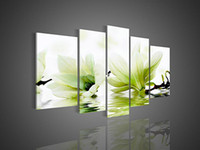 Oil Painting blooms landscaping - Hand painted Hi Q modern fashion wall art home decorative flower oil painting on canvas Blooming light green Mangnolia flower5pcs set framed