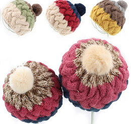 Wholesale Hair Color Ball - Autumn winter hat cute rabbit hair ball girls hand-woven knitted caps color matching baby kids hats children cap 12pcs lot SM601
