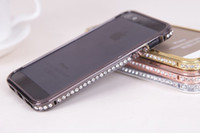 Wholesale Aluminium Bumper For Iphone 4s - Luxury Bling Diamond Bumper Frame Aluminium Metal + PC Material Crystal Fashion Style Cover Case For iPhone 4 4S 5 5G 5S