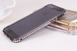 Wholesale Aluminium For Iphone 5g - Luxury Bling Diamond Bumper Frame Aluminium Metal + PC Material Crystal Fashion Style Cover Case For iPhone 4 4S 5 5G 5S