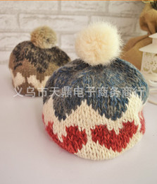 Wholesale Crochet Star Hat - Autumn winter children loving heart hexagonal star hair bulb manual wool caps girls knitted cap kids hats 12pcs lot SM603