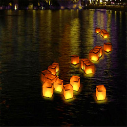 Wholesale Paper Candle Light Lanterns - Square Floating water Square chinese lanterns wishing water River Candle Light Paper Wish Lanterns
