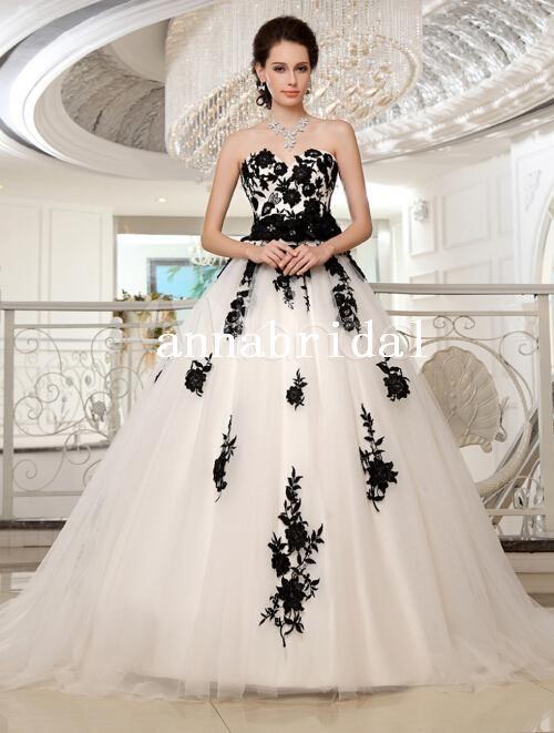 Top Bianco e Nero, Abiti da Sposa Sweetheart Tulle Sash Elegante Pizzo  HR23