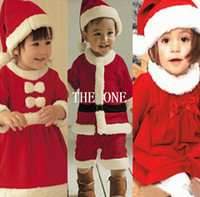 Wholesale Baby Dress Hat Set - christmas children suit baby boys girls christmas girls Bow dress kids dress hat child 2pcs set father christmas suit baby christmas costume