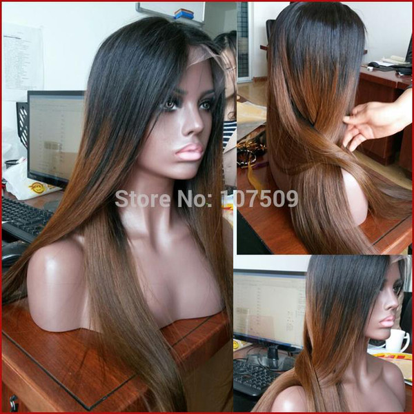 Ombre lace wigs natural T1b/#30 two tone glueless lace front human hair wigs/full lace wig 130 density 10-28inch free shipping